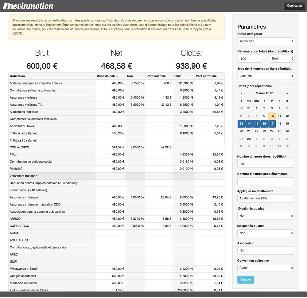 Simulation de bulletins de paie pour les salariés du spectacle en ligne, en quelques clics sur Movinmotion