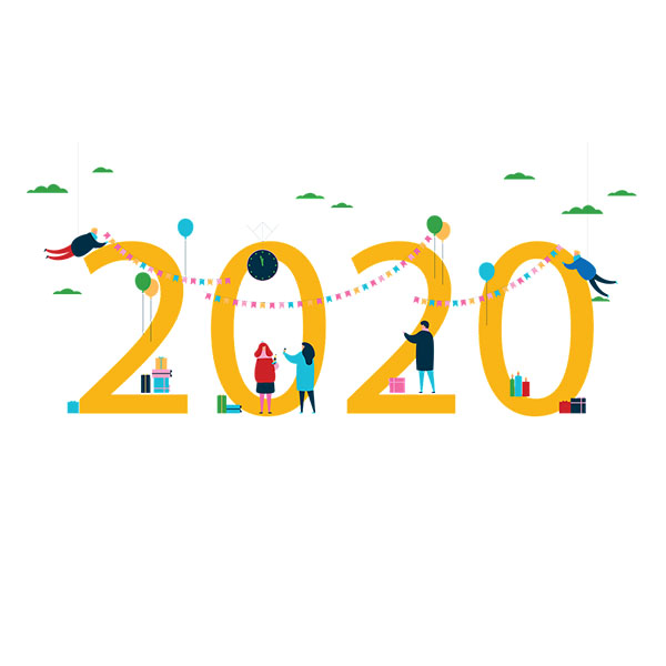 image flat de 2020 écrit en jaune avec des petits personnages célébrant la nouvelle année