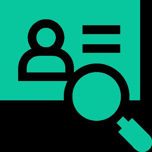 pictogramme d'un profil en ligne et d'une loupe